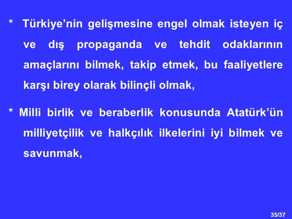 * Türkiye'nin gelişmesine engel olmak isteyen iç ve dış propaganda ve tehdit odaklarının amaçlarını bilmek, takip etmek, bu faaliyetlere karşı birey olarak bilinçli olmak,