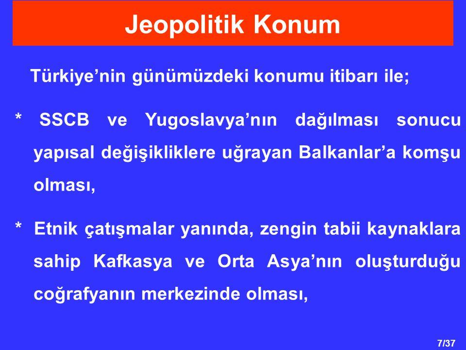 Jeopolitik Konum Türkiye'nin günümüzdeki konumu itibarı ile;
