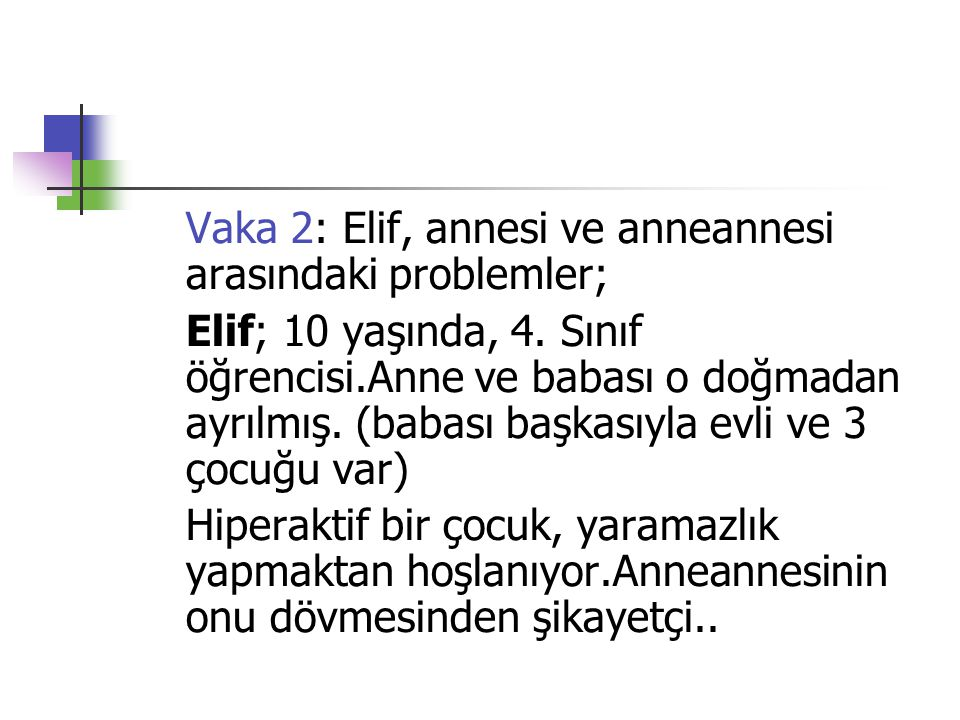 Vaka 2: Elif, annesi ve anneannesi arasındaki problemler;
