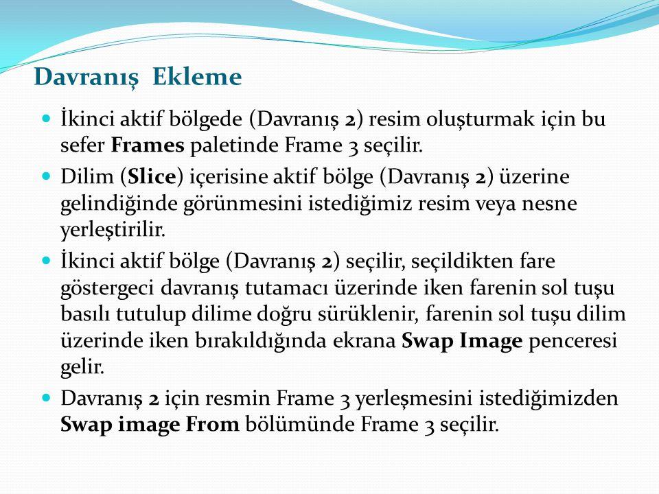 Davranış Ekleme İkinci aktif bölgede (Davranış 2) resim oluşturmak için bu sefer Frames paletinde Frame 3 seçilir.