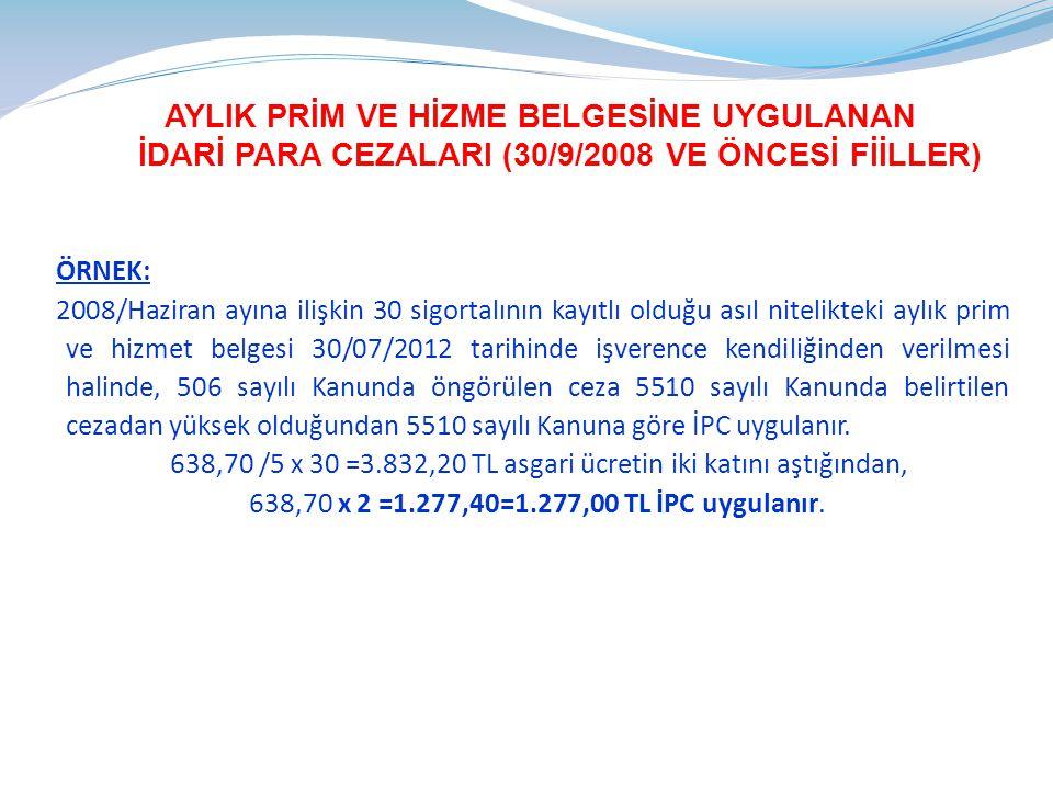 AYLIK PRİM VE HİZME BELGESİNE UYGULANAN İDARİ PARA CEZALARI (30/9/2008 VE ÖNCESİ FİİLLER)