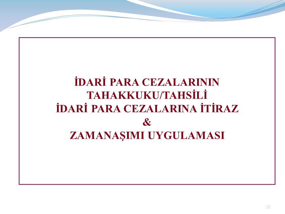 İDARİ PARA CEZALARININ TAHAKKUKU/TAHSİLİ İDARİ PARA CEZALARINA İTİRAZ