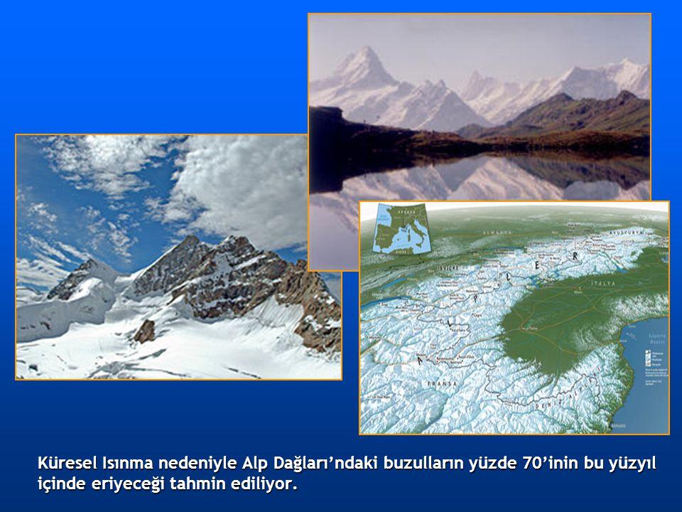 Küresel Isınma nedeniyle Alp Dağları'ndaki buzulların yüzde 70'inin bu yüzyıl içinde eriyeceği tahmin ediliyor.