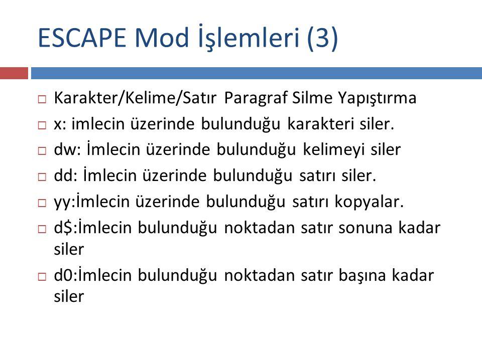 ESCAPE Mod İşlemleri (3)