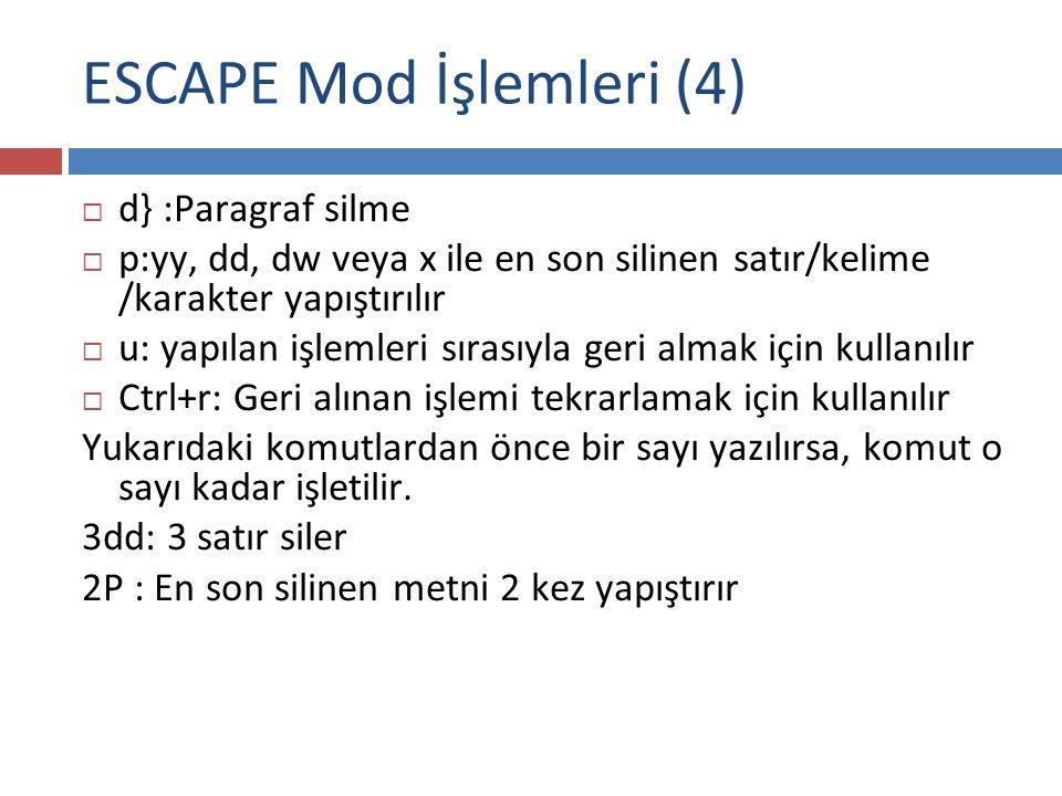 ESCAPE Mod İşlemleri (4)