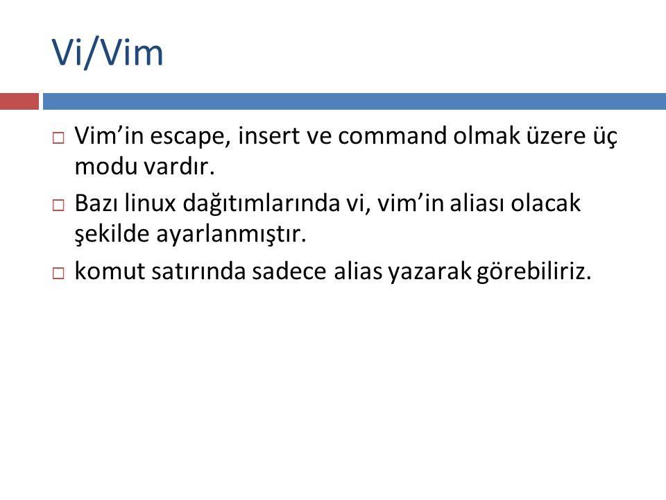 Vi/Vim Vim'in escape, insert ve command olmak üzere üç modu vardır.