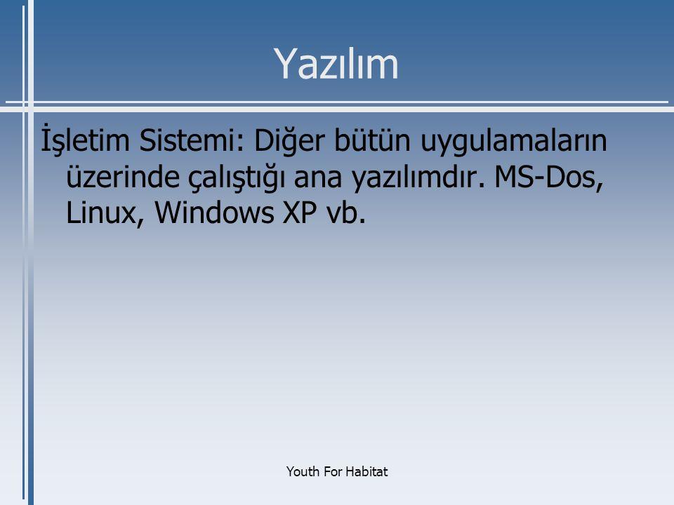 Yazılım İşletim Sistemi: Diğer bütün uygulamaların üzerinde çalıştığı ana yazılımdır. MS-Dos, Linux, Windows XP vb.
