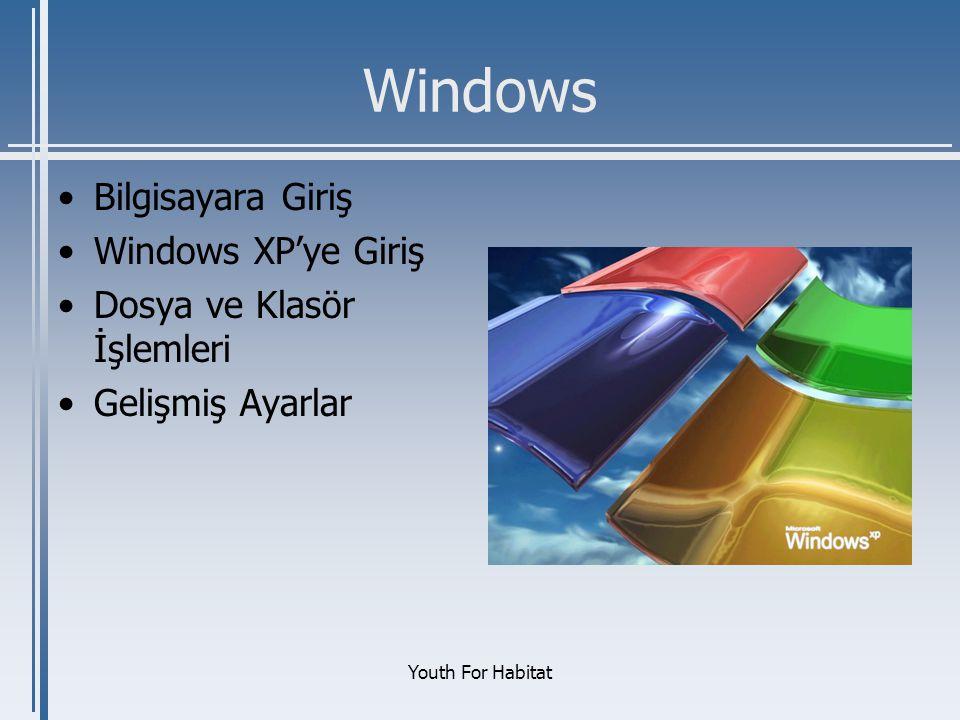 Windows Bilgisayara Giriş Windows XP'ye Giriş