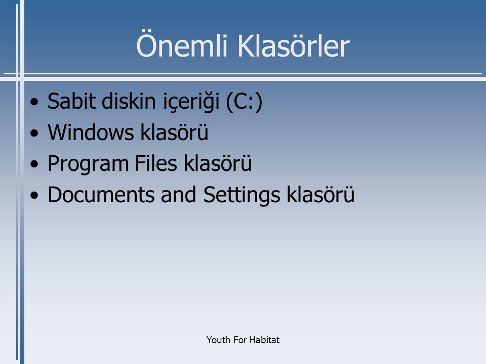 Önemli Klasörler Sabit diskin içeriği (C:) Windows klasörü