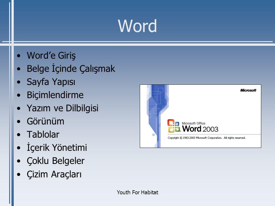 Word Word'e Giriş Belge İçinde Çalışmak Sayfa Yapısı Biçimlendirme