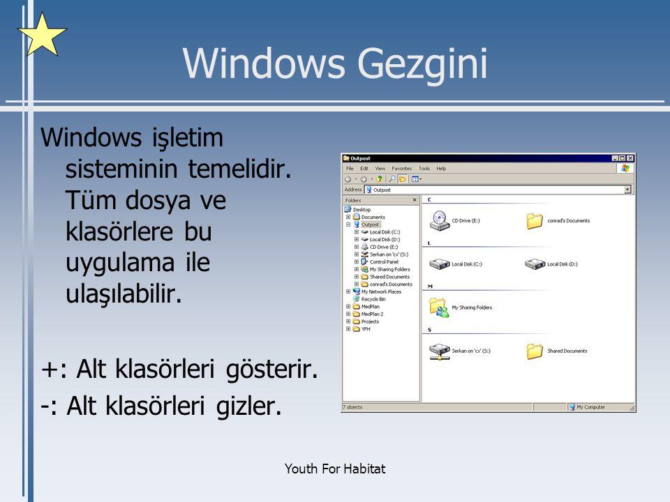 Windows Gezgini Windows işletim sisteminin temelidir. Tüm dosya ve klasörlere bu uygulama ile ulaşılabilir.