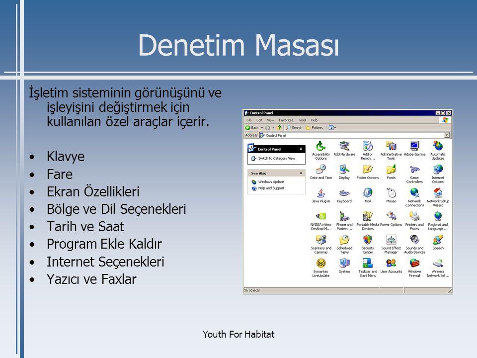 Denetim Masası İşletim sisteminin görünüşünü ve işleyişini değiştirmek için kullanılan özel araçlar içerir.