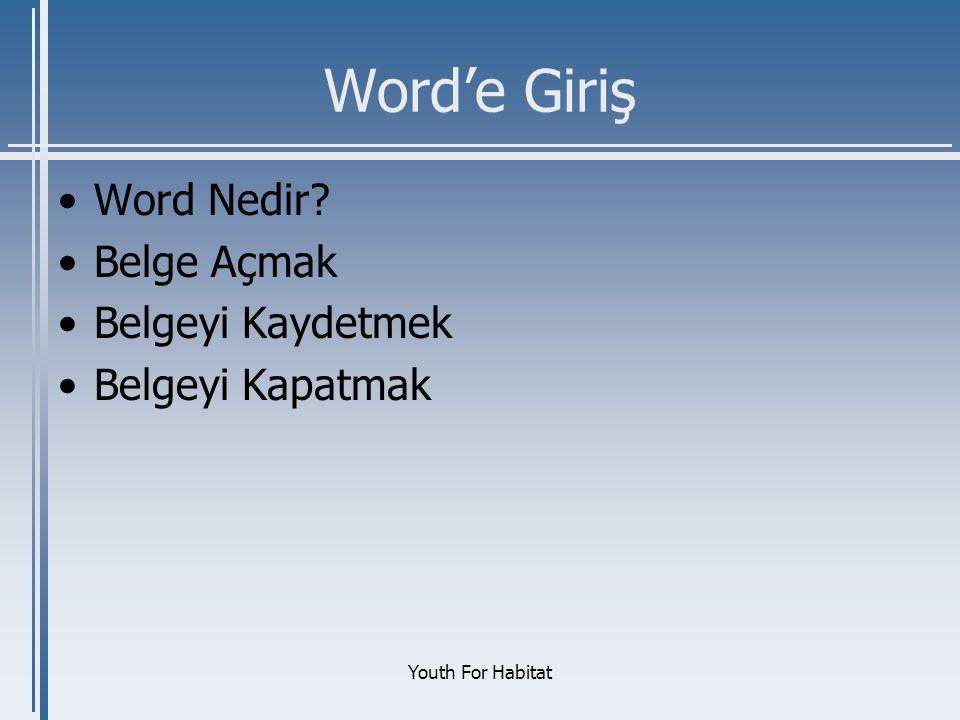 Word'e Giriş Word Nedir Belge Açmak Belgeyi Kaydetmek
