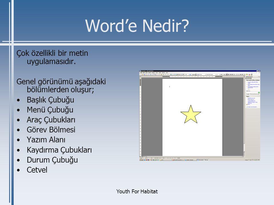 Word'e Nedir Çok özellikli bir metin uygulamasıdır.