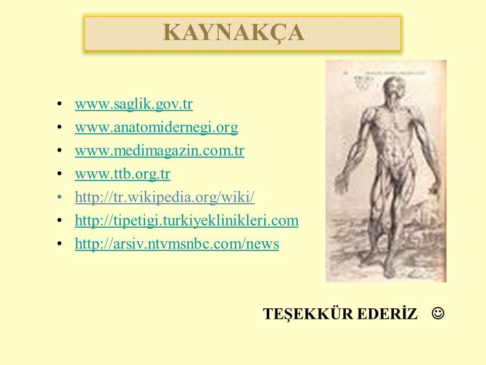 KAYNAKÇA www.saglik.gov.tr www.anatomidernegi.org
