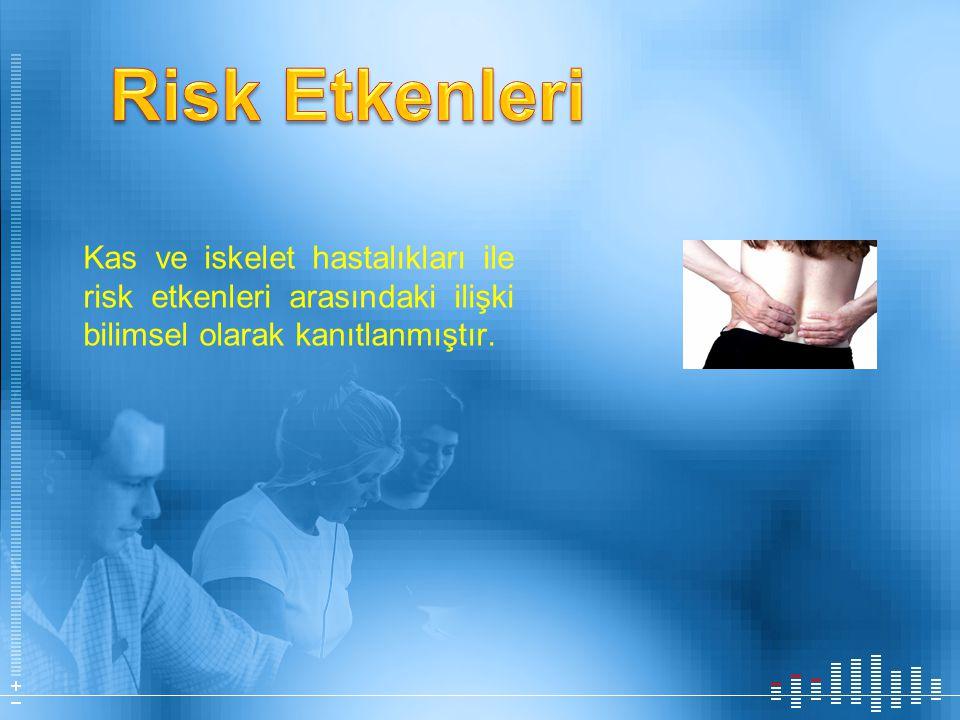Risk Etkenleri Kas ve iskelet hastalıkları ile risk etkenleri arasındaki ilişki bilimsel olarak kanıtlanmıştır.