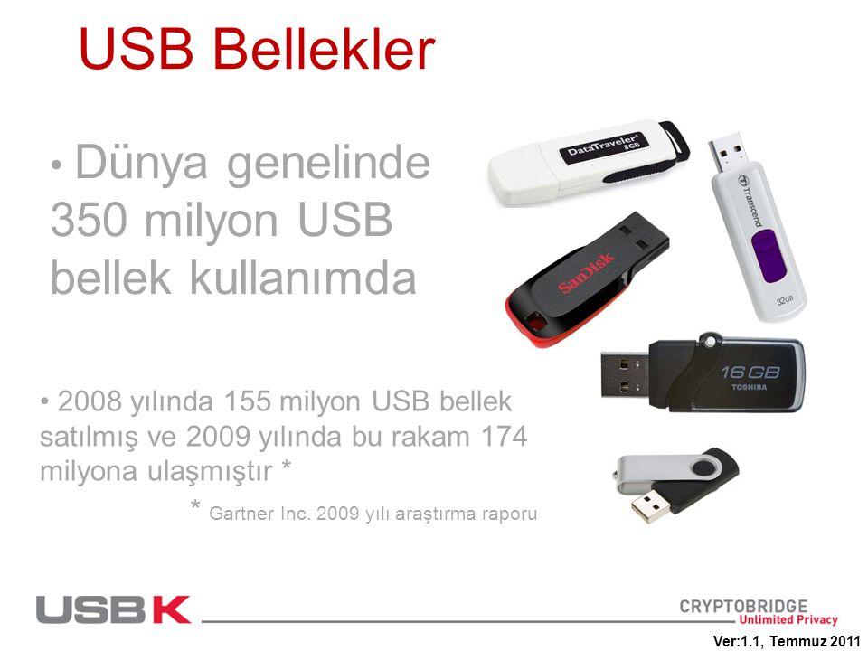 USB Bellekler Dünya genelinde 350 milyon USB bellek kullanımda