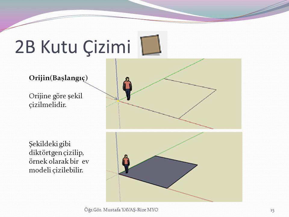 2B Kutu Çizimi Orijin(Başlangıç) Orijine göre şekil çizilmelidir.