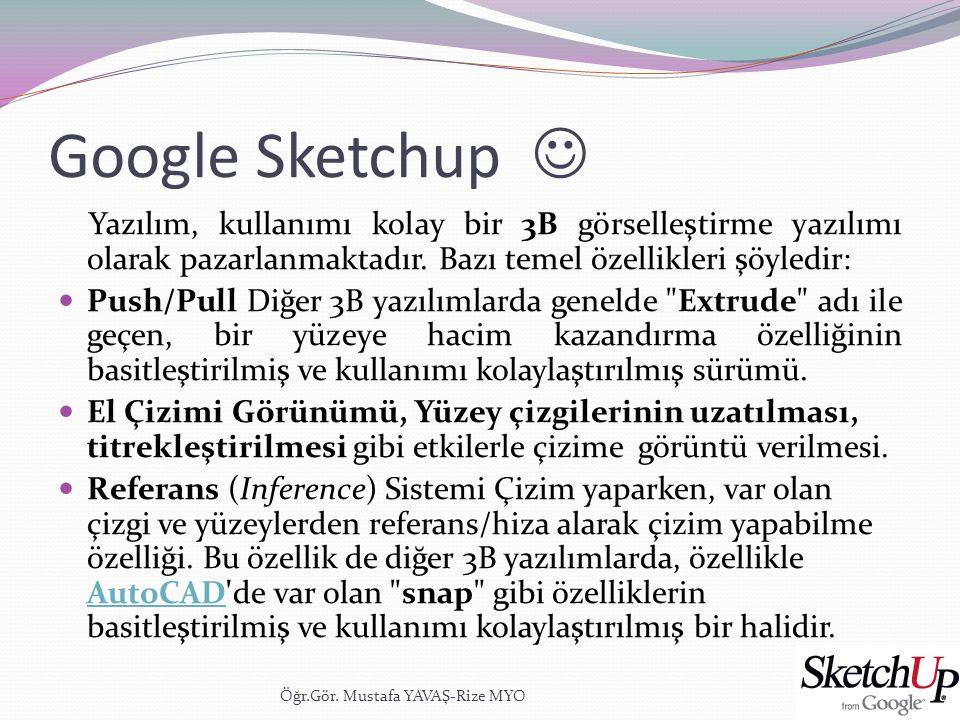Google Sketchup  Yazılım, kullanımı kolay bir 3B görselleştirme yazılımı olarak pazarlanmaktadır. Bazı temel özellikleri şöyledir:
