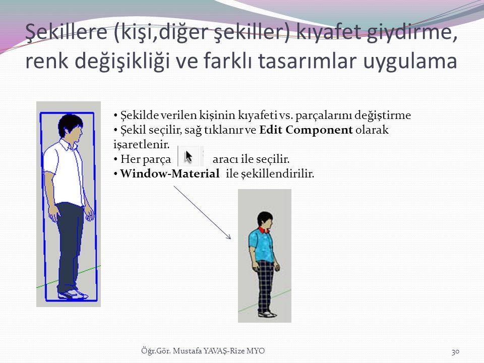 Şekillere (kişi,diğer şekiller) kıyafet giydirme, renk değişikliği ve farklı tasarımlar uygulama