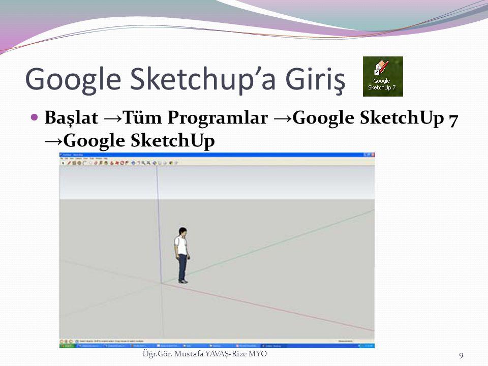 Google Sketchup'a Giriş