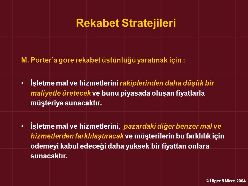 Rekabet Stratejileri M. Porter'a göre rekabet üstünlüğü yaratmak için :