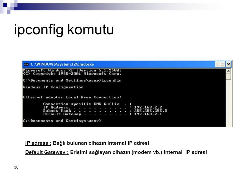 ipconfig komutu IP adress : Bağlı bulunan cihazın internal IP adresi