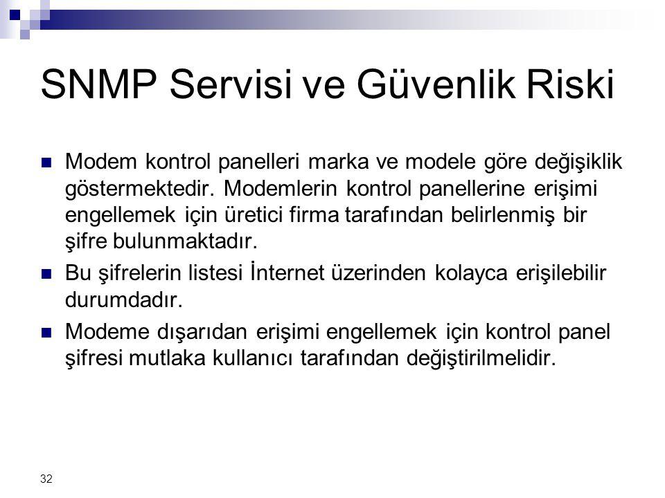 SNMP Servisi ve Güvenlik Riski
