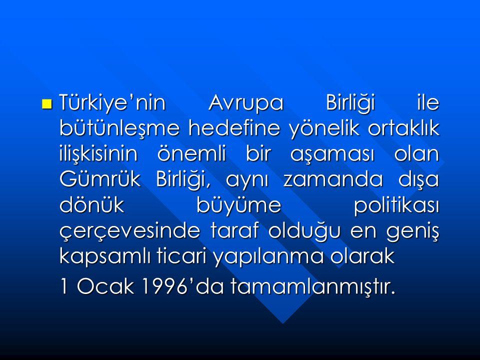 Türkiye'nin Avrupa Birliği ile bütünleşme hedefine yönelik ortaklık ilişkisinin önemli bir aşaması olan Gümrük Birliği, aynı zamanda dışa dönük büyüme politikası çerçevesinde taraf olduğu en geniş kapsamlı ticari yapılanma olarak