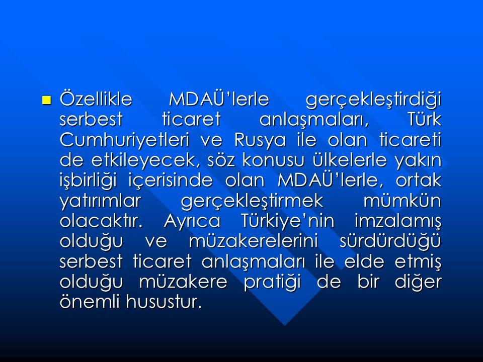 Özellikle MDAÜ'lerle gerçekleştirdiği serbest ticaret anlaşmaları, Türk Cumhuriyetleri ve Rusya ile olan ticareti de etkileyecek, söz konusu ülkelerle yakın işbirliği içerisinde olan MDAÜ'lerle, ortak yatırımlar gerçekleştirmek mümkün olacaktır.