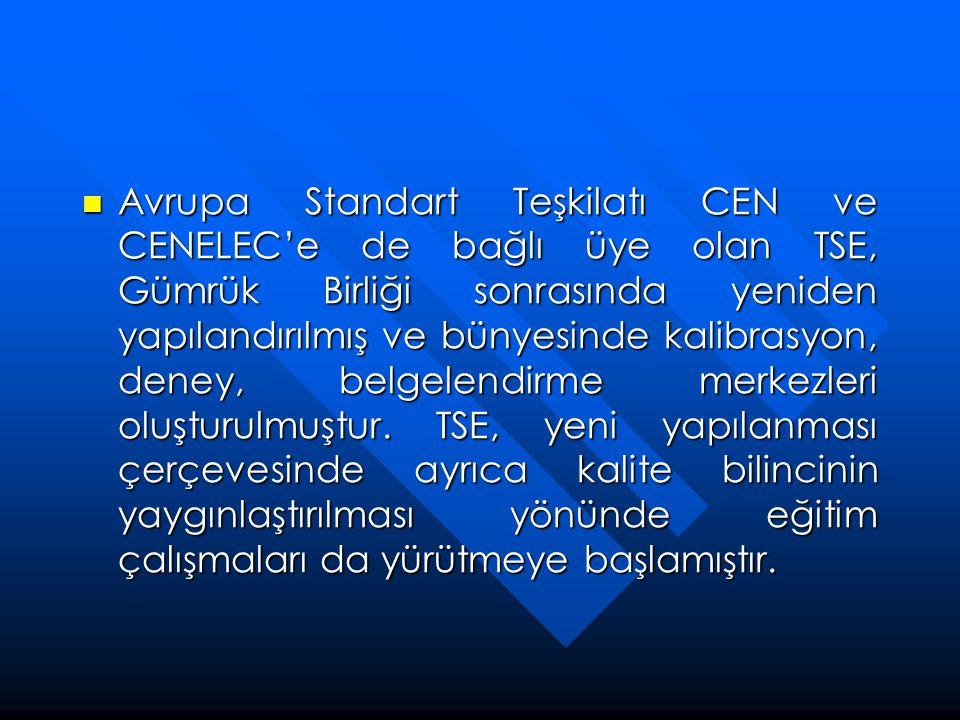 Avrupa Standart Teşkilatı CEN ve CENELEC'e de bağlı üye olan TSE, Gümrük Birliği sonrasında yeniden yapılandırılmış ve bünyesinde kalibrasyon, deney, belgelendirme merkezleri oluşturulmuştur.