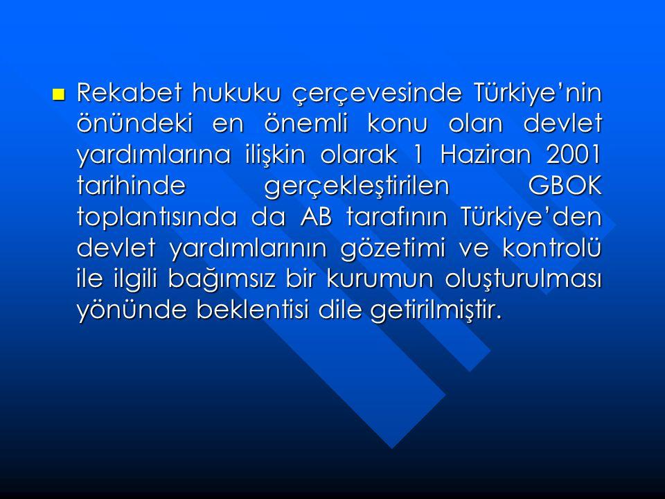 Rekabet hukuku çerçevesinde Türkiye'nin önündeki en önemli konu olan devlet yardımlarına ilişkin olarak 1 Haziran 2001 tarihinde gerçekleştirilen GBOK toplantısında da AB tarafının Türkiye'den devlet yardımlarının gözetimi ve kontrolü ile ilgili bağımsız bir kurumun oluşturulması yönünde beklentisi dile getirilmiştir.