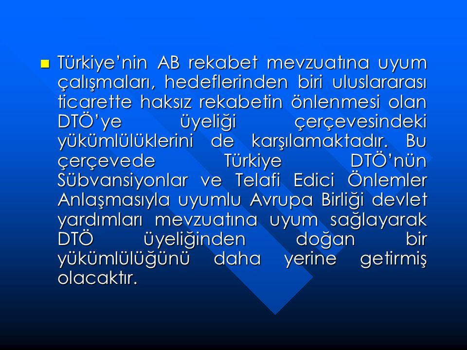 Türkiye'nin AB rekabet mevzuatına uyum çalışmaları, hedeflerinden biri uluslararası ticarette haksız rekabetin önlenmesi olan DTÖ'ye üyeliği çerçevesindeki yükümlülüklerini de karşılamaktadır.