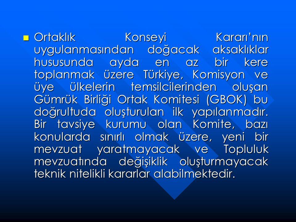 Ortaklık Konseyi Kararı'nın uygulanmasından doğacak aksaklıklar hususunda ayda en az bir kere toplanmak üzere Türkiye, Komisyon ve üye ülkelerin temsilcilerinden oluşan Gümrük Birliği Ortak Komitesi (GBOK) bu doğrultuda oluşturulan ilk yapılanmadır.