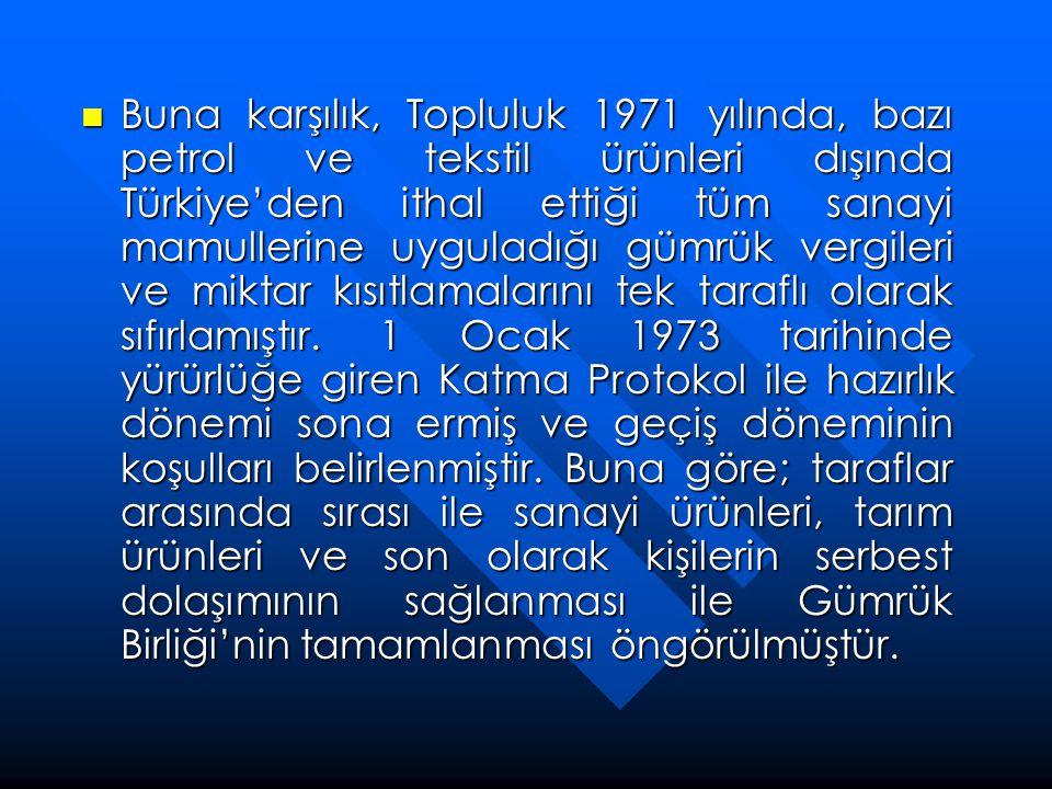 Buna karşılık, Topluluk 1971 yılında, bazı petrol ve tekstil ürünleri dışında Türkiye'den ithal ettiği tüm sanayi mamullerine uyguladığı gümrük vergileri ve miktar kısıtlamalarını tek taraflı olarak sıfırlamıştır.
