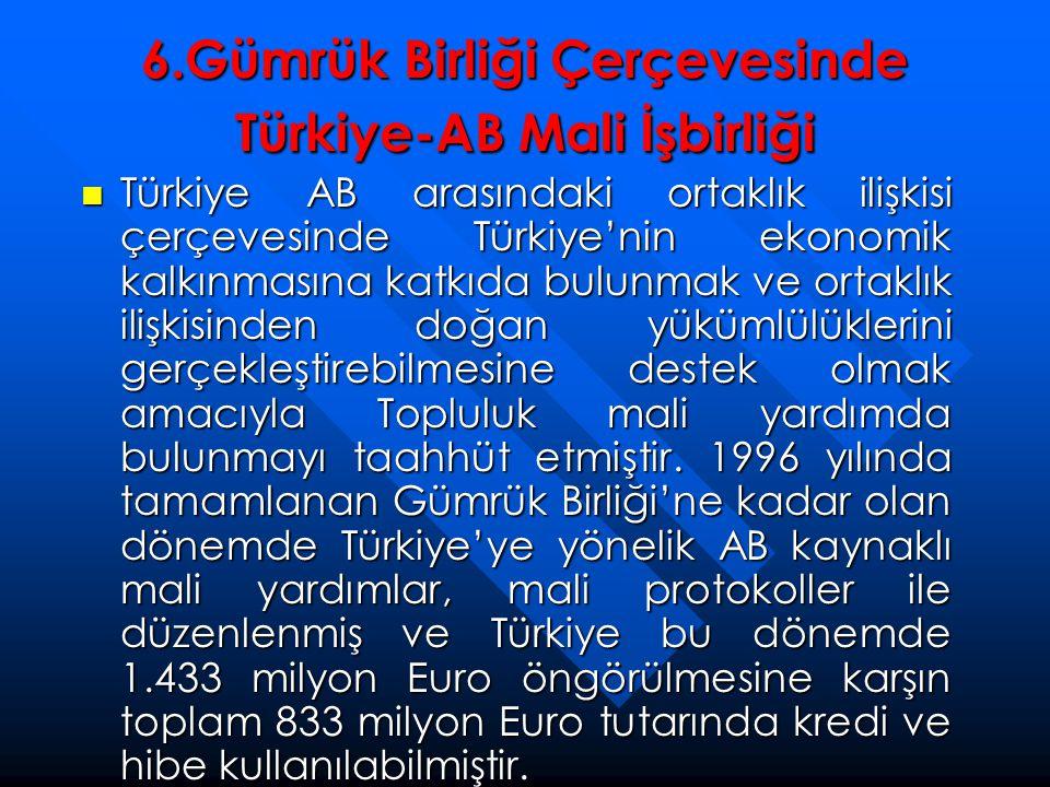 6.Gümrük Birliği Çerçevesinde Türkiye-AB Mali İşbirliği