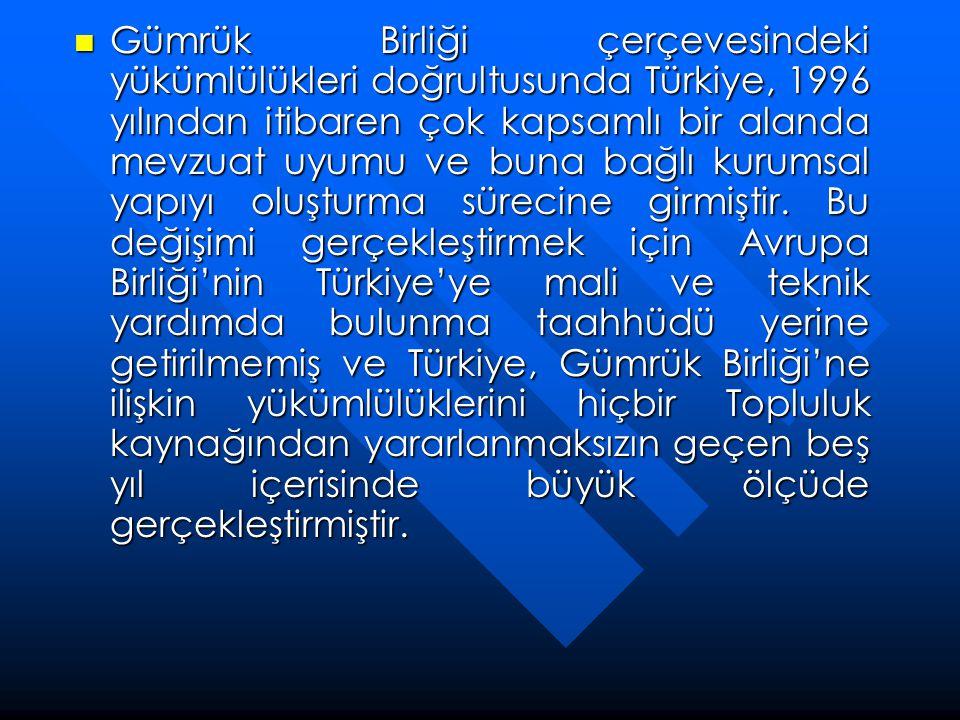 Gümrük Birliği çerçevesindeki yükümlülükleri doğrultusunda Türkiye, 1996 yılından itibaren çok kapsamlı bir alanda mevzuat uyumu ve buna bağlı kurumsal yapıyı oluşturma sürecine girmiştir.