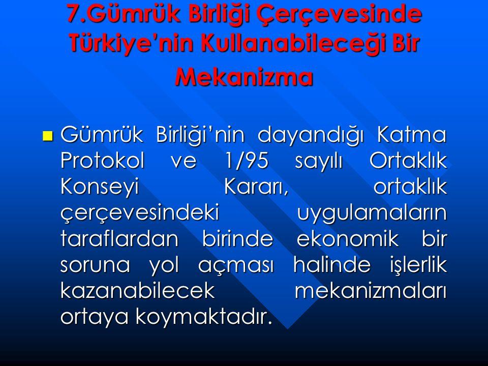 7.Gümrük Birliği Çerçevesinde Türkiye'nin Kullanabileceği Bir Mekanizma