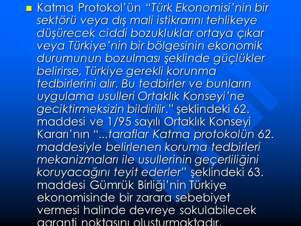 Katma Protokol'ün Türk Ekonomisi'nin bir sektörü veya dış mali istikrarını tehlikeye düşürecek ciddi bozukluklar ortaya çıkar veya Türkiye'nin bir bölgesinin ekonomik durumunun bozulması şeklinde güçlükler belirirse, Türkiye gerekli korunma tedbirlerini alır.