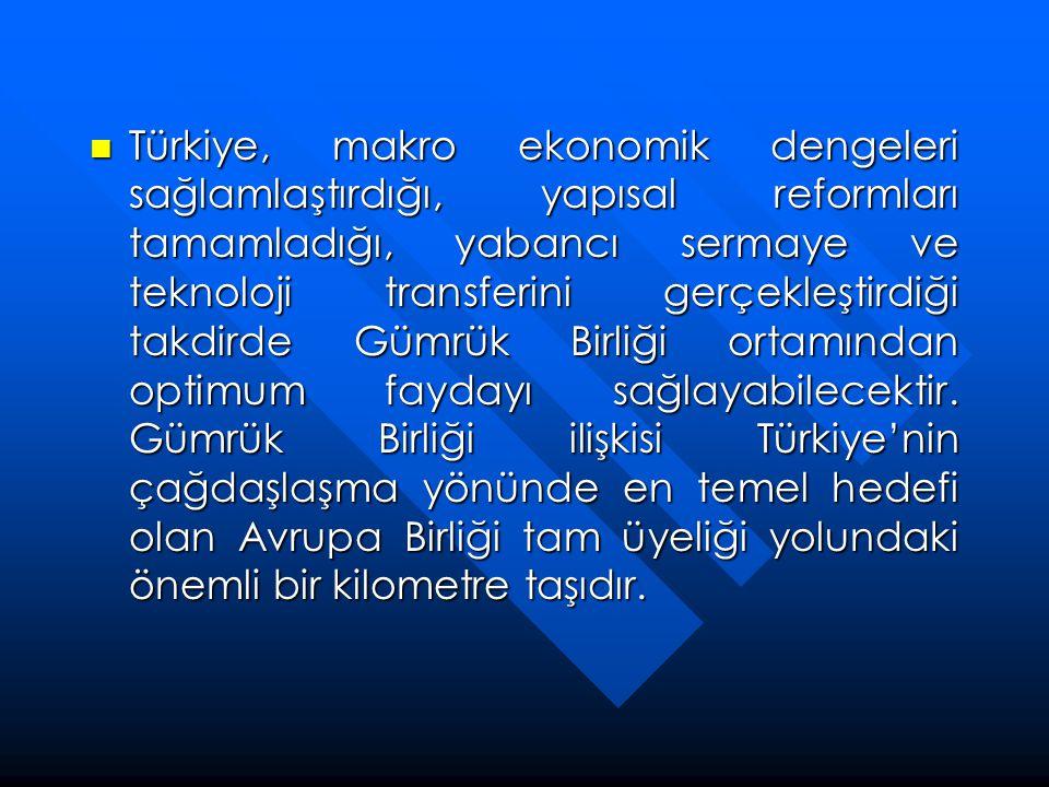 Türkiye, makro ekonomik dengeleri sağlamlaştırdığı, yapısal reformları tamamladığı, yabancı sermaye ve teknoloji transferini gerçekleştirdiği takdirde Gümrük Birliği ortamından optimum faydayı sağlayabilecektir.