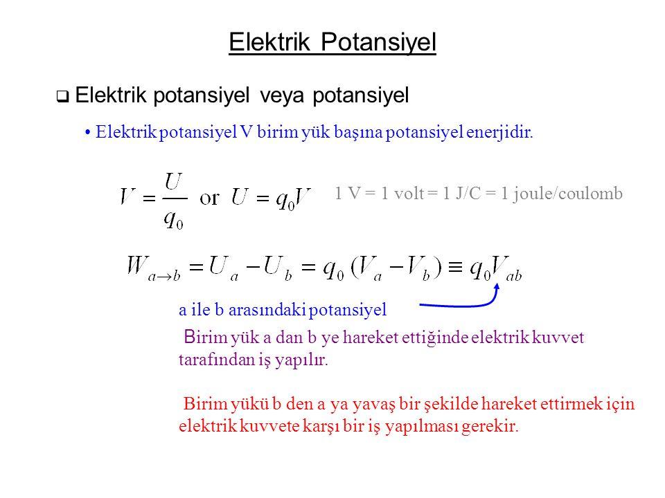 Elektrik Potansiyel Elektrik potansiyel veya potansiyel. Elektrik potansiyel V birim yük başına potansiyel enerjidir.