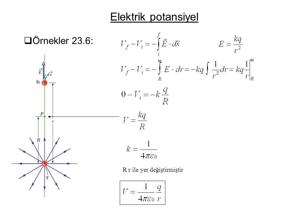 Elektrik potansiyel Örnekler 23.6: R r ile yer değiştirmiştir