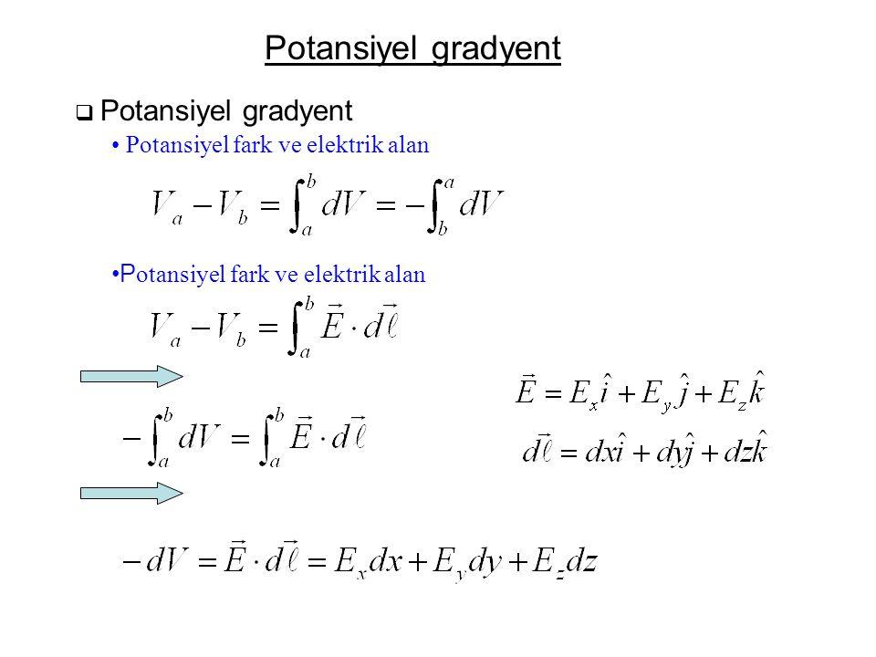 Potansiyel gradyent Potansiyel fark ve elektrik alan