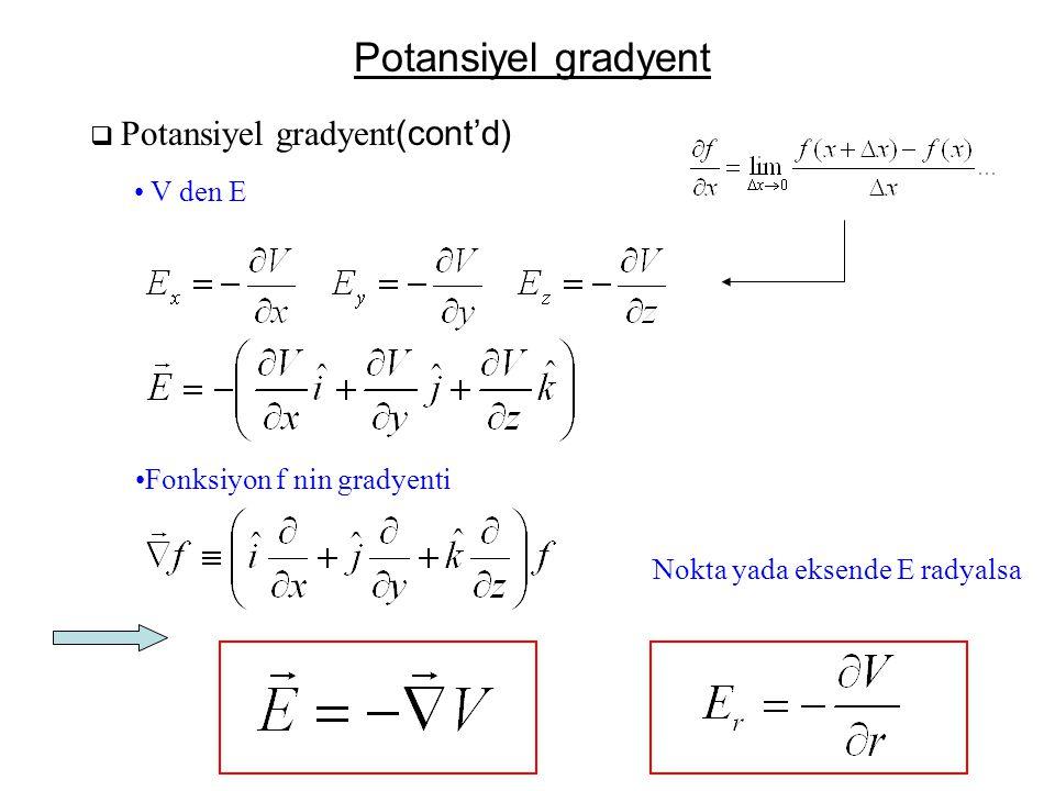Potansiyel gradyent V den E Fonksiyon f nin gradyenti