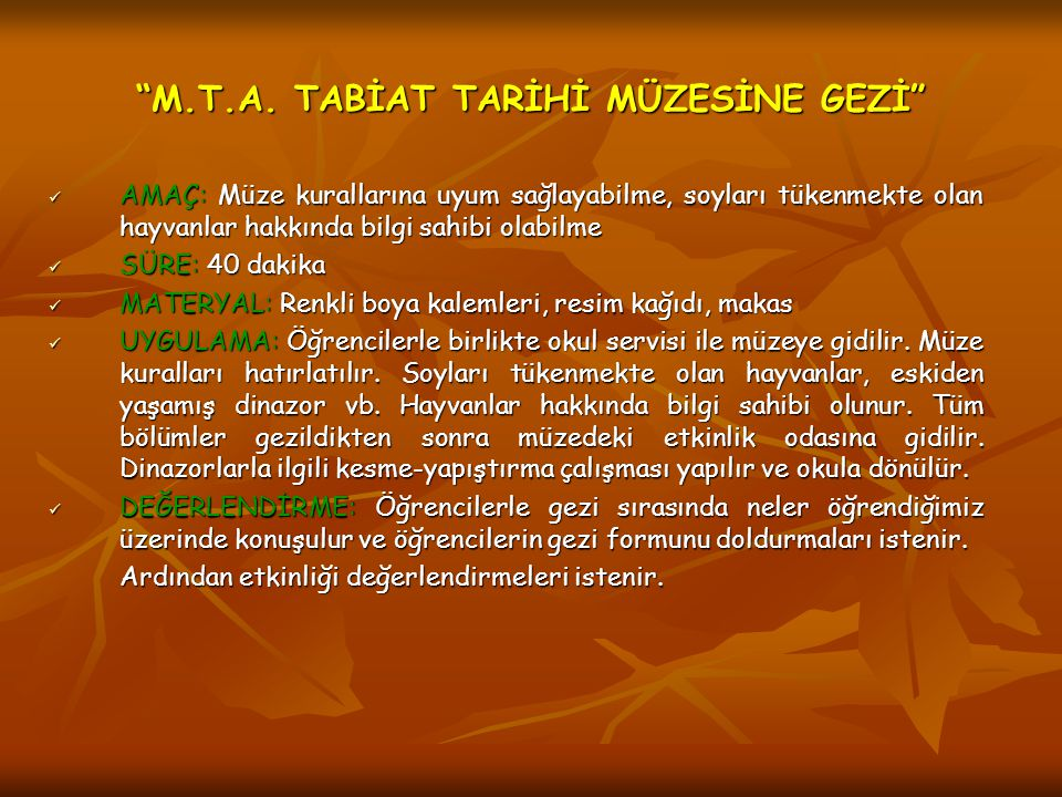 M.T.A. TABİAT TARİHİ MÜZESİNE GEZİ