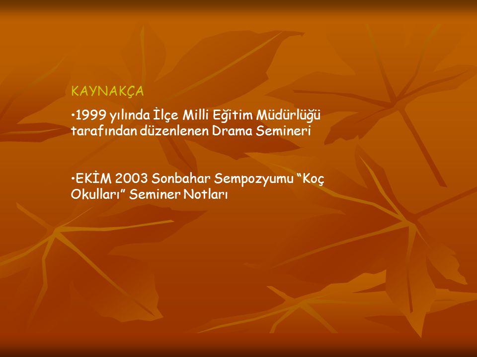 KAYNAKÇA 1999 yılında İlçe Milli Eğitim Müdürlüğü tarafından düzenlenen Drama Semineri.