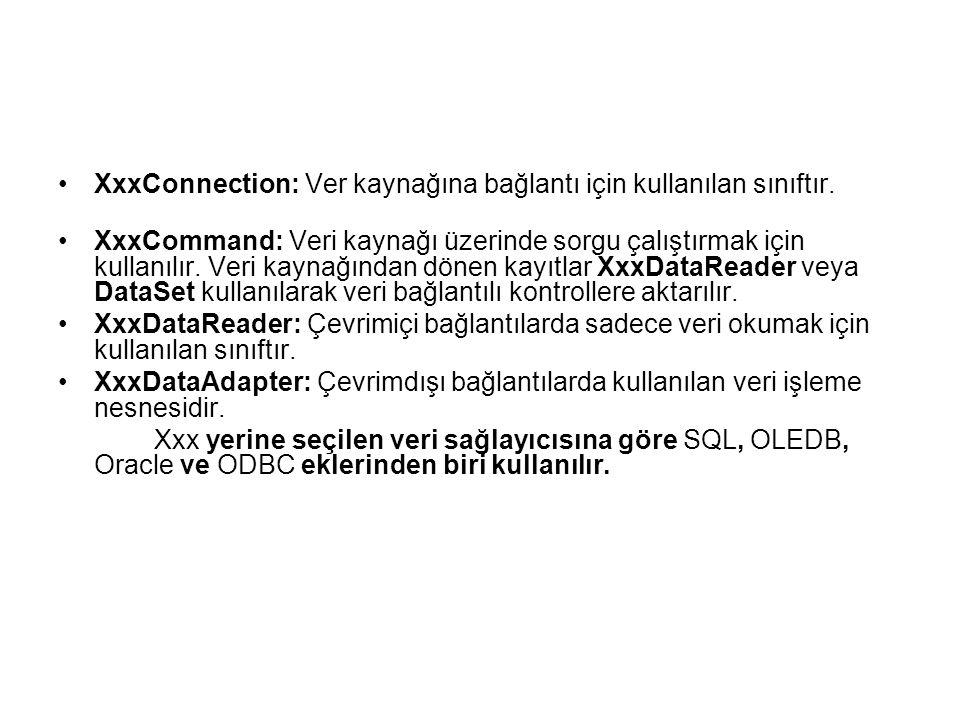XxxConnection: Ver kaynağına bağlantı için kullanılan sınıftır.
