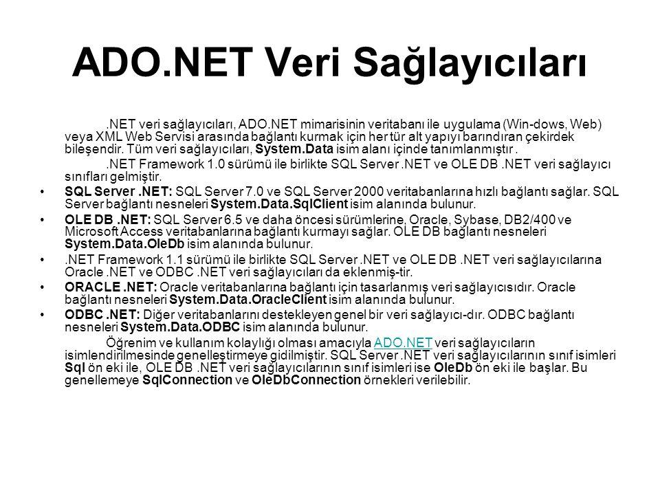 ADO.NET Veri Sağlayıcıları
