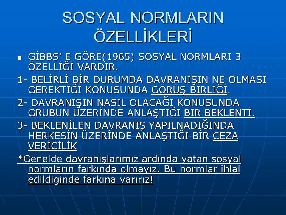 SOSYAL NORMLARIN ÖZELLİKLERİ