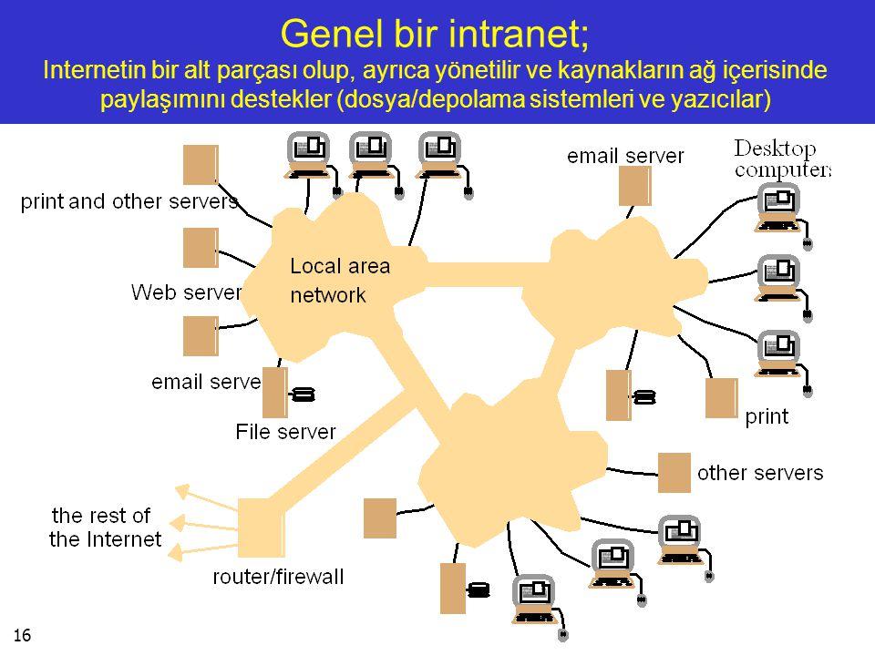 Genel bir intranet; Internetin bir alt parçası olup, ayrıca yönetilir ve kaynakların ağ içerisinde paylaşımını destekler (dosya/depolama sistemleri ve yazıcılar)